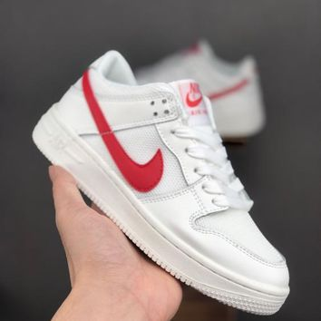 HCXX 19June 1018 Nike Air Force 1 Breathable big net AF1 casual board shoes white red