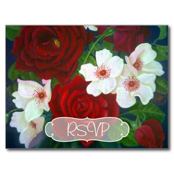 Red Rose Painting Wedding Invite RSVP with Photo Postcard