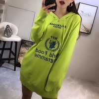 """Balenciaga"" Women Casual Fashion Knit Letter Long Sleeve Hoodie Sweater Dress"