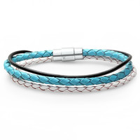 Braided Triple Strand Leather Bracelet with Stainless Steel Magnetic Locking Clasp 7 1/2 inch