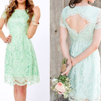 Short Mint Green Lace Bridesmaid Dress Lace Reception Dress Lace Wedding Party Dress Ivory White Black Red Blue Yellow Lace Prom Dress