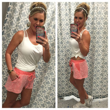 Terry Pocket Shorts: Coral