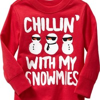 """Chillin' With My Snowmies"" Graphic Tees for Baby"