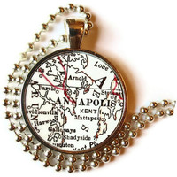 SALE Annapolis, Maryland map necklace pendant charm, Map Jewelry by LocationInspirations