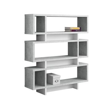 """Bookcase - 55""""H / White / Cement-Look Modern Style"""