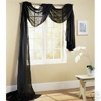 "216"" LONG SCARF TOPPER, BLACK SHEER VOILE, 60"" WIDE"