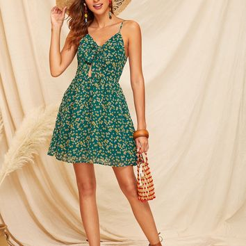 Ditsy Floral Knot Front Peekaboo Cami Dress