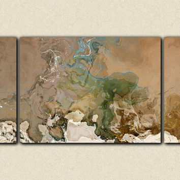 "Abstract art, 30x60 large size triptych gallery wrap giclee canvas print, in neutral colors, from abstract painting ""Understated"""