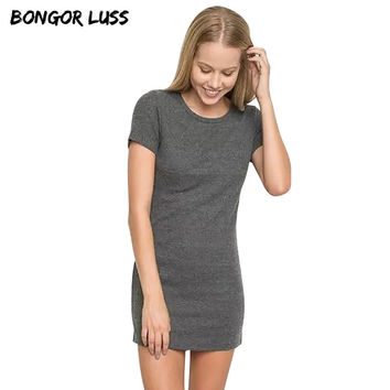BONGOR LUSS Summer Dress New Fashion Women O Neck Short Sleeve Casual Rib Bodycon Mini Dress Short Dresses For Brandy Melville