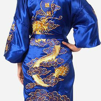 Le Chung - Men's  Blue Chinese Traditional  Lounging Robe