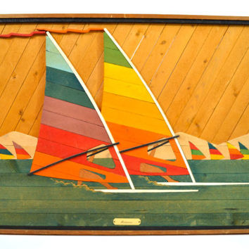 Large Solid Wood Windsurfing Art, Wood Lath, Lake House, Beach House Decor, Colorful Sail Art, Windancers