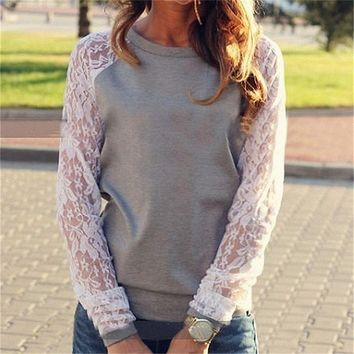2018 Spring Women Casual Hoodies Sweatshirts Fashion Lace Patchwork Long Sleeve Sweatshirt O Neck Pullover Tops Sudaderas Mujer