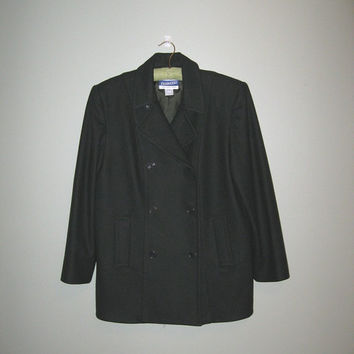 Vintage Pea Coat / Dark Green Peacoat / Wool Jacket / Women / Outerwear / size Small / Pendleton Wool Jacket