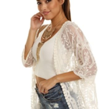 Natural Come Together Lace Kimono