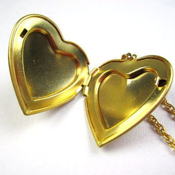 Cameo Floral Heart Locket Necklace Victorian Revival 1950s Vintage Jewelry