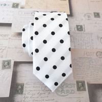 Necktie White Black Dot Mens Skinny Tie