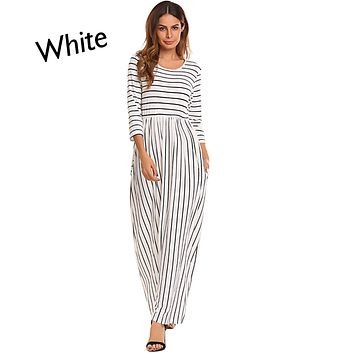 White 3/4 Sleeve Maxi Dress, Sizes Small - 2XLarge