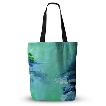 "Ebi Emporium ""Winter Dreamland 6"" Green Blue Everything Tote Bag"