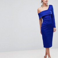 ASOS One Sleeve Fold Front Midi Bodycon Dress at asos.com