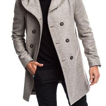 ZOGAA 2018 men's wool coat autumn winter mens long trench coat Cotton Casual woollen men overcoat mens coats and jackets S-3XL