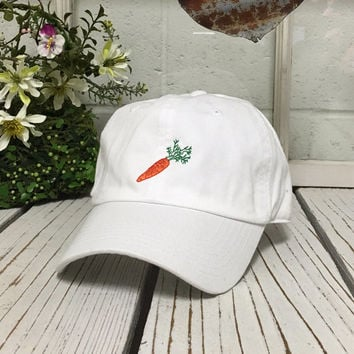 Vintage CARROT Baseball Cap Low Profile Dad Hats Baseball Hat Embroidery White