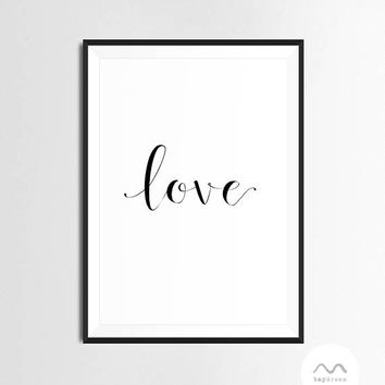 Love Word Print - Baydreem. Quote Wall Art  Elegant Quote Art Love Wall Art Quote Print Positive Words Art Love Printable Instant Download