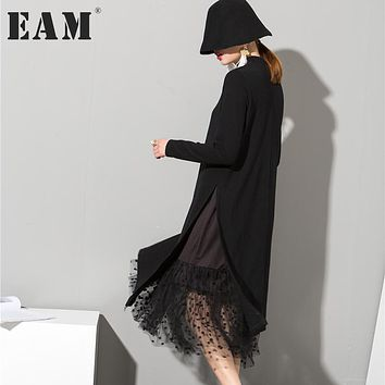 [EAM] 2017 new autumn winter high collar Long Sleeve Gauze Split Joint Two False Long black red dress women fashion tide 800011