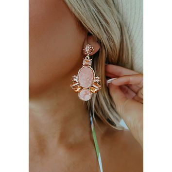 Look For Me Earrings: Peach/Gold
