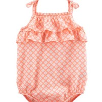Ruffle Tie-Shoulder Sunsuit