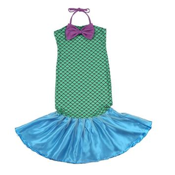 Little Mermaid Tail Princess Fancy Green Dresses with Bow for Halloween Christmas Cosplay Costume for Girls