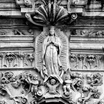 Ornate Carved Stone Relief Sculptures on the Exterior of Mission San José (A0017995)
