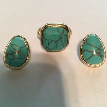 Turquoise Earring and Ring Set