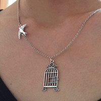 Fly Free Bird Necklace Silver Birdcage Necklace With Flying Sparrow Necklace