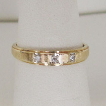 14k Solid Gold Antique Art Deco Vintage Natural Diamond wedding band ring