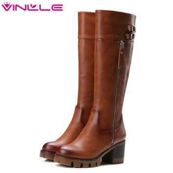 VINLLE New 2016 Women Knee High Boots Round Toe PU+leather Boots Square High Heel Women Shoes Autumn Punk Style Boots Size 34-42