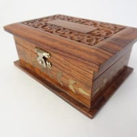 Wooden box vintage carved wood decorative stash box