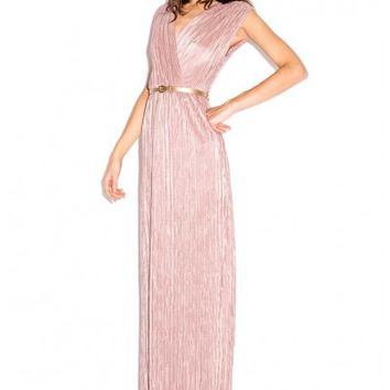 Oh My Love Moonshine Mauve Pleated Grecian Belted Maxi Dress