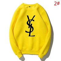 YSL New fashion letter print couple keep warm long sleeve top sweater Yellow