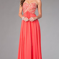 Xcite Strapless Sweetheart Long Prom Dress