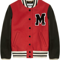 Moschino - Leather-paneled wool-blend bomber jacket