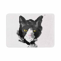 "Frederic Levy-Hadida ""Sumi Cat 2"" Black White Animal Print Animals Watercolor Illustration Memory Foam Bath Mat"