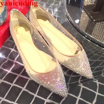 Air Mesh Glitter Crystal Charms Decor Women Flats Pointed Toe Trendy Brightest Shoes Shallow Wedding Party Star Stage Hot Shoes