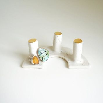 White + Gold Triple Post Ring Holder