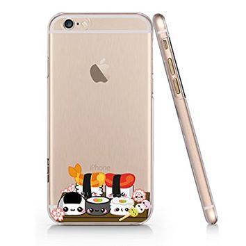Cute Japanese Food Sushi Clear Transparent Plastic Phone Case Phone Cover for Iphone 6 6s_ SUPERTRAMPshop (iphone 6)