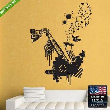 Wall Decal Decal Sticker Beautiful Sax Saxophone Grunge Flowers Audio  z155
