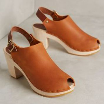Bryr Suzie Peeptoe Clogs by Bryr Clogs Brown