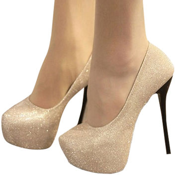 Shimmering Almond Toe Platform Stiletto Heel Pumps