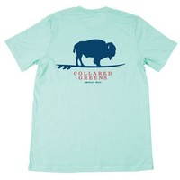 American Made Buffalo Surfer T-Shirt in Ocean Teal by Collared Greens