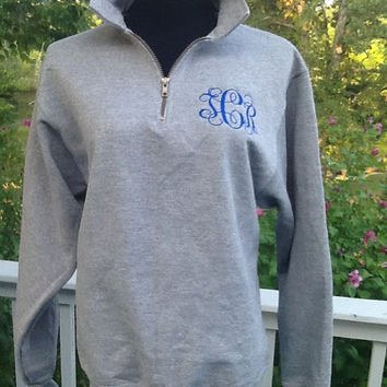 Monogrammed 1/4 Zip sweatshirt pullover.  Monogram available on back as well