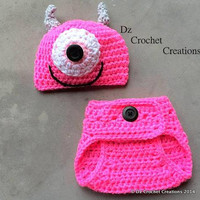 Crochet Mike Inspired Monster Inc.. Outfit - Photo Prop --Hat -  Diaper Cover - Made with an Adjustable Waist - MADE TO ORDER